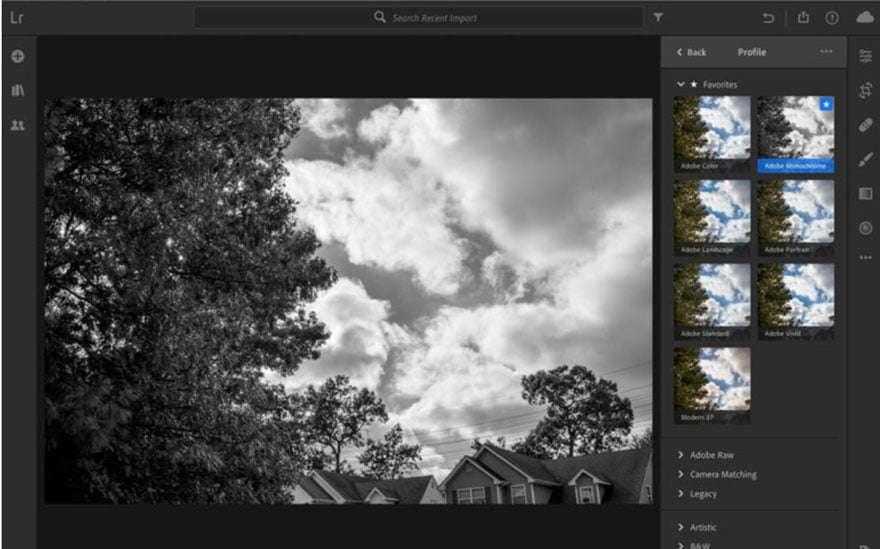 Screengrab of Adobe lightroom interface